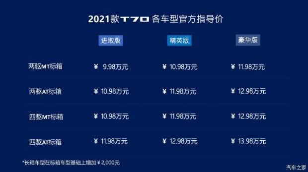 售9.98-13.98万 上汽大通MAXUS T70新车型上市